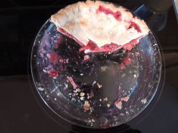 SMALL COMMUNITY -- More breakfast from cherries that T & A brought.  Grandma baked the pie on Sunday - T & A hand pitted all five pounds of cherries - great friends - from their garden we have had beans broccoli too