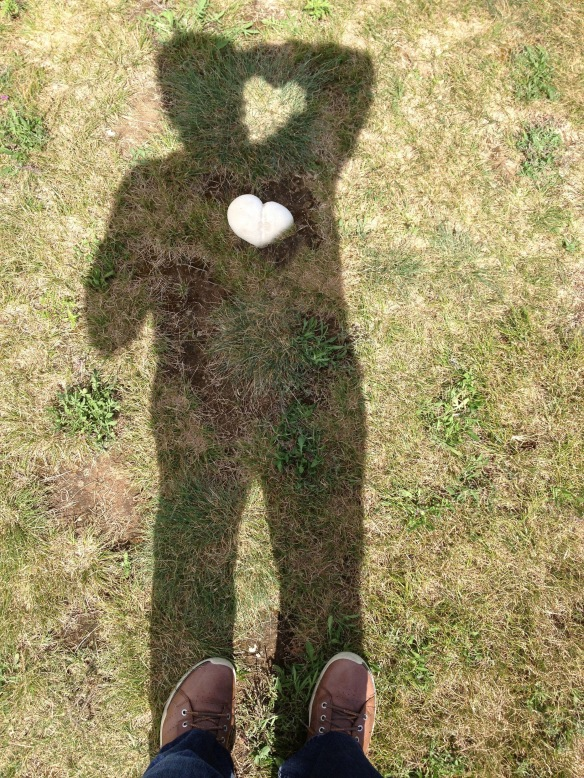 My shadow with heart where it should be - Bonus my camera arm even formed a heart