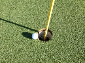 I love this golf art - a simple statement  - no I did not place the ball there by hand - but I did wait for it to fall in -- It did not fall in - had to add one more stroke!