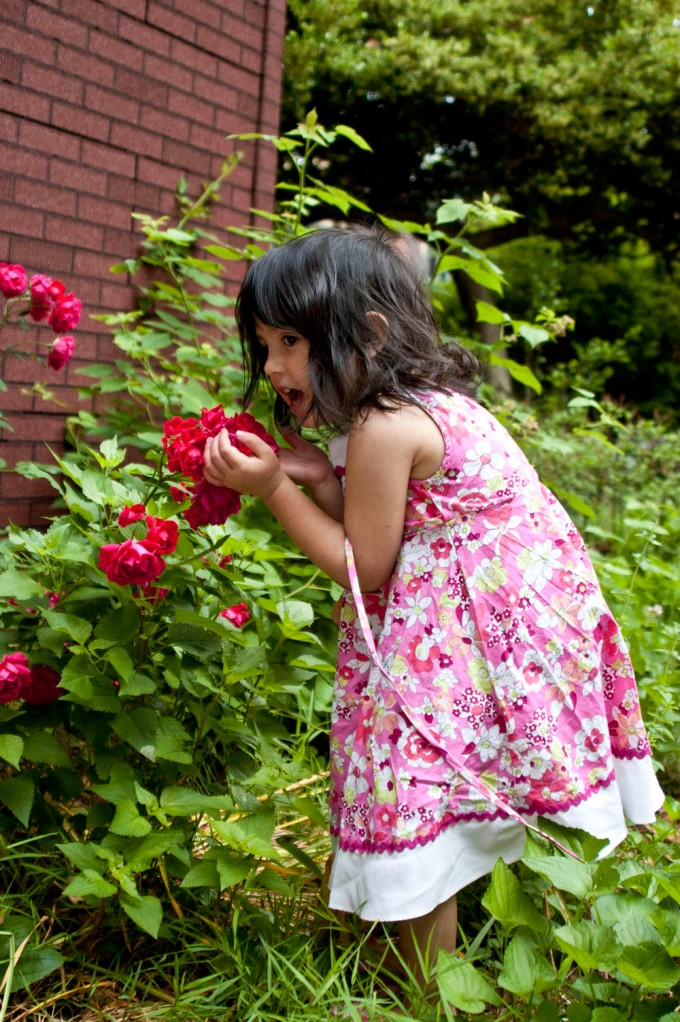 Caught in the act of smelling the roses