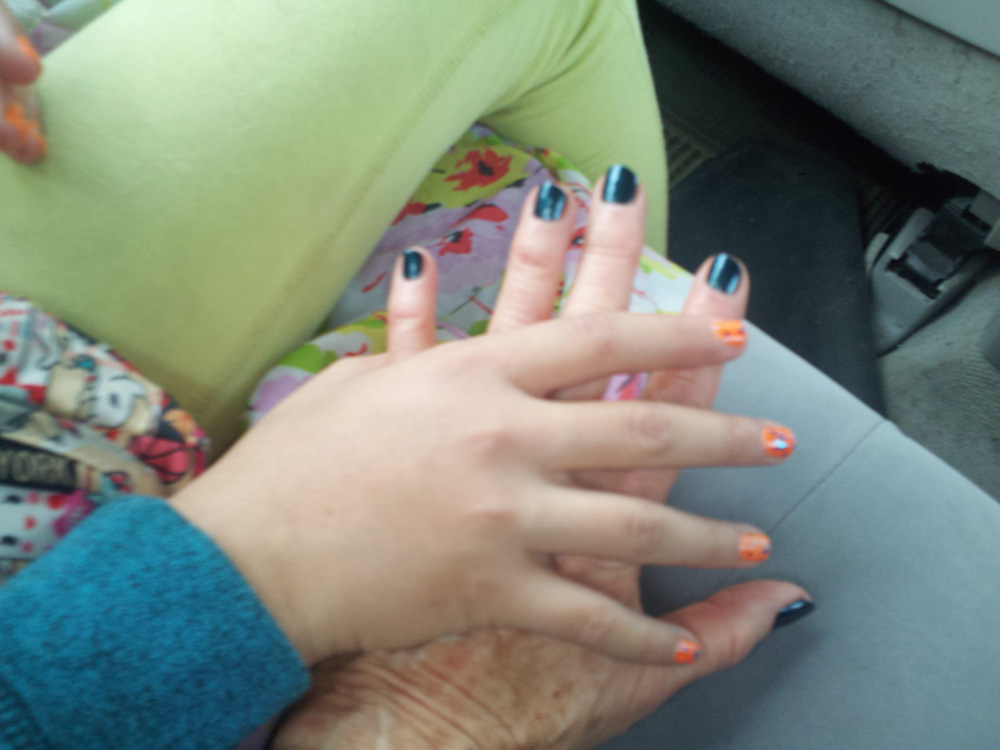 This is Grandchild's design for now -- practicing for the future leadership role - her Grandma got a color lesson - can you tell whose had is whose?