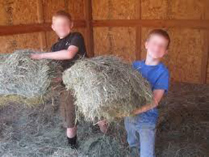 My cousin and I had lots of hay fights