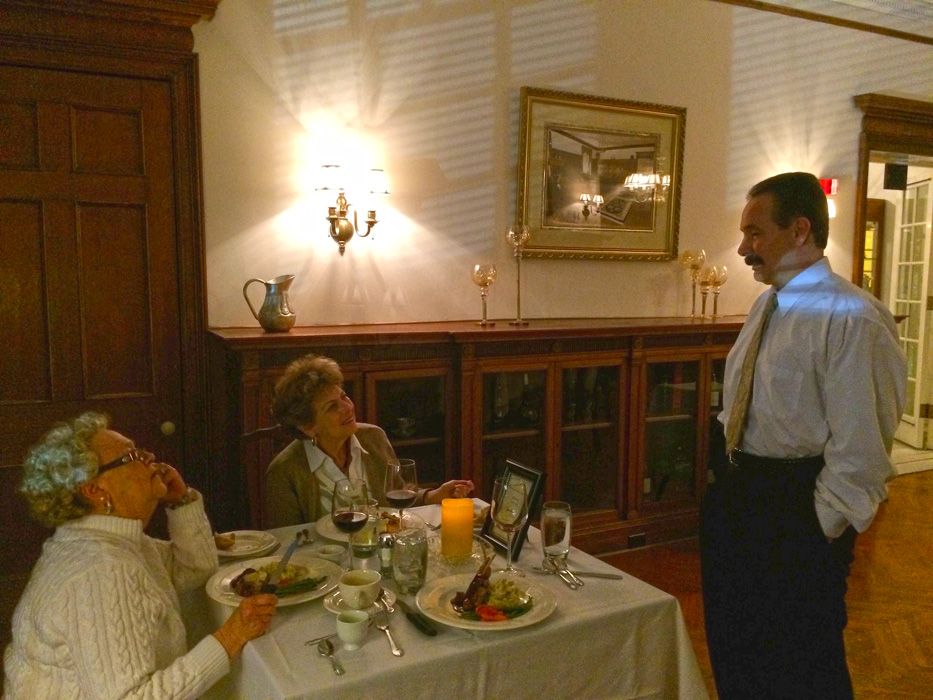 Dinner with my sister - Here they are having a conversation with the developer who is restoring the old mansion to the hey days of the industrial revolution when the wealthy dined here