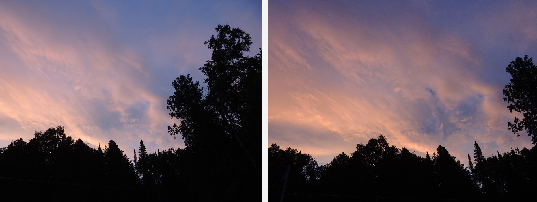 On the left the camera saw clouds - On the right my mind saw a beautiful goose-like bird flying up from lower left to right